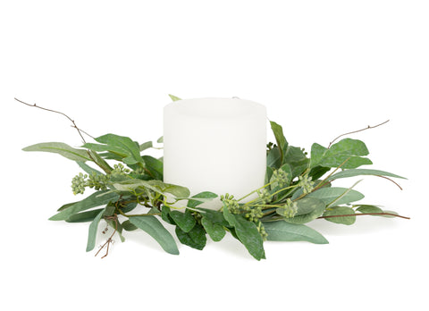 Mixed Eucalyptus Candle Ring - Courtyard Style