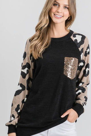 Leopard Sequin Pocket Tee - Courtyard Style