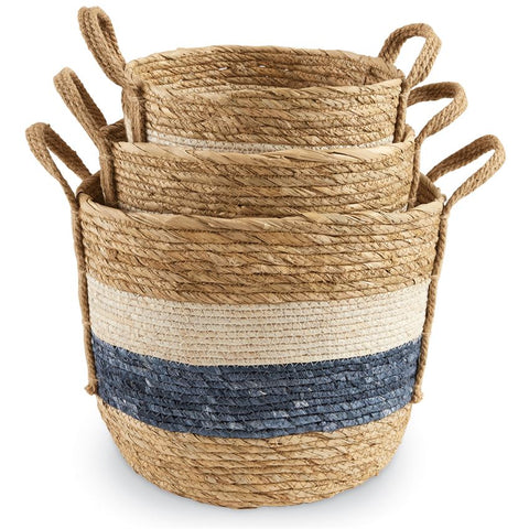 Blue and White Stripe Basket Set - Courtyard Style