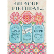 Canning Jars Birthday Card - Courtyard Style