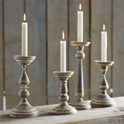 Fluted Tin Candlesticks - Courtyard Style