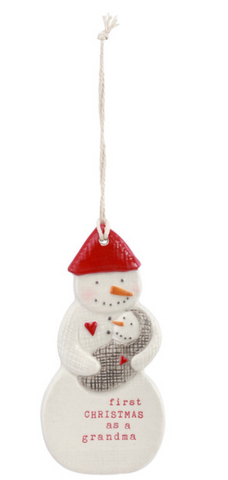 First Christmas as Grandma Ceramic Ornament - Courtyard Style