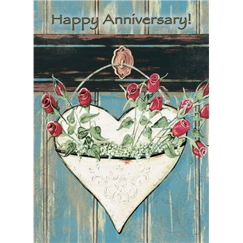 Heart with Roses Anniversary Card - Courtyard Style