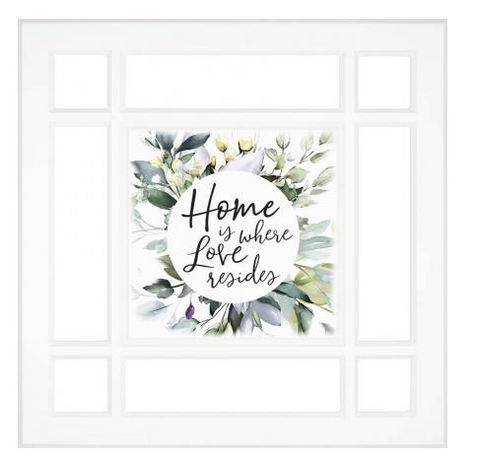 Home Is Love Square Sign - Courtyard Style
