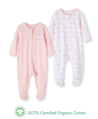 Pink Elephant Footie 2pc - Courtyard Style