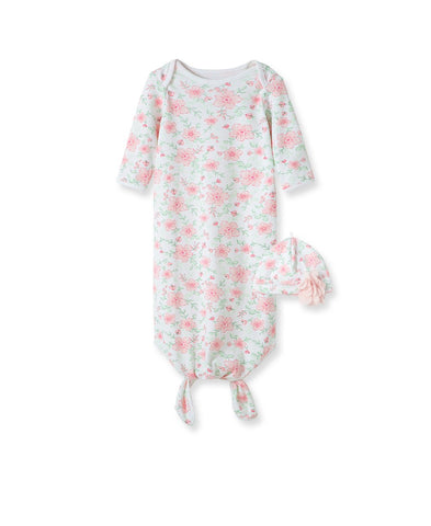 Floral Fourish Sleeper Knot Gown & Hat - Courtyard Style