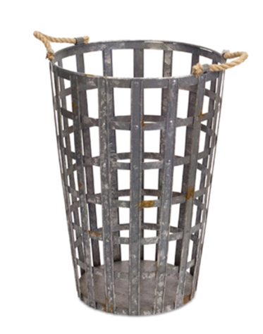 Metal/Rope Basket Tall - Courtyard Style