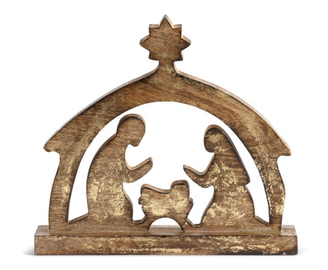 Gold Wood Nativity Scene - Courtyard Style