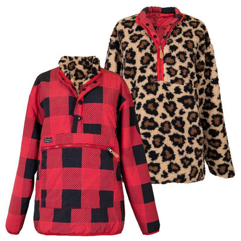 Reversible Leopard Check Pullover - Courtyard Style