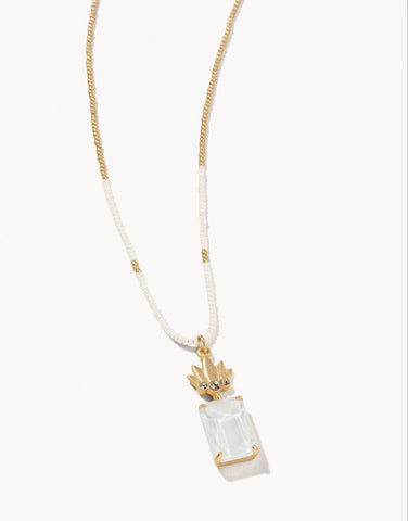 Mermaid Glass Pineapple Bitty Necklace White - Courtyard Style