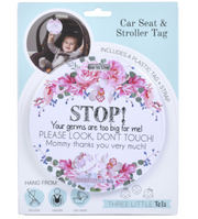Stop Germs Too Big For Me Flower Tag - Courtyard Style