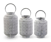Medallion Punched Metal Lanterns with Candle Lift - Courtyard Style