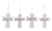 Cream Ceramic Cross Ornament - Courtyard Style