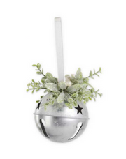 Bell Ornament with Glittered Mistletoe - Courtyard Style