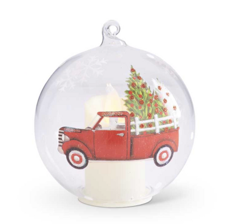 Glass LED Truck Ornament - Courtyard Style