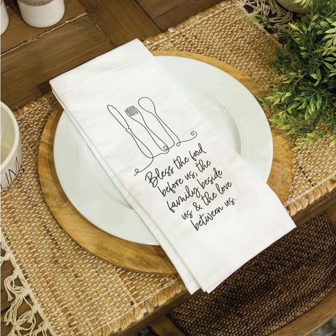 Bless the Food Tea Towel - Courtyard Style