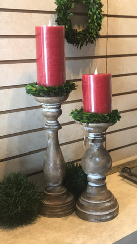 White Wash Candle Sticks - Courtyard Style