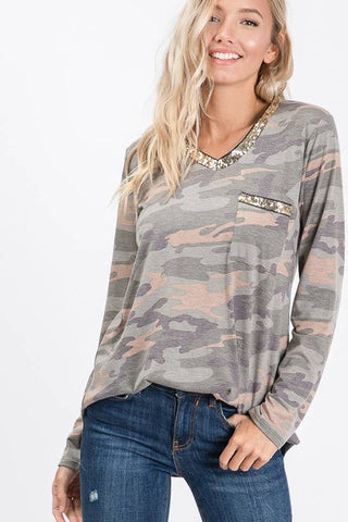 Camo Glitter Accent Plus Tee - Courtyard Style