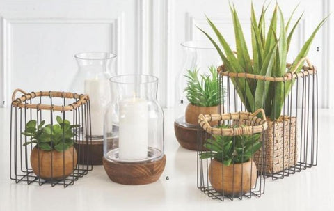 Wire Basket with Bamboo Trim