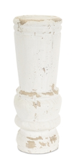 Distressed White Candle Stick Large - Courtyard Style