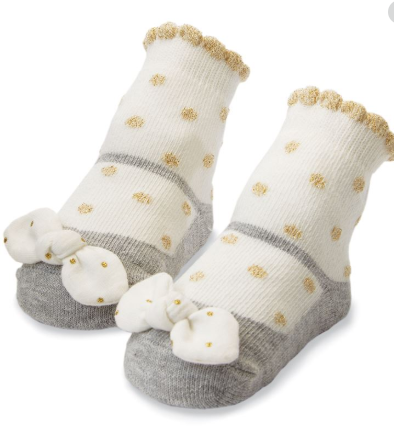 Gold Dot Bow Socks - Courtyard Style