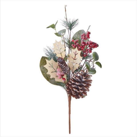 Iced Pick with Pinecones and Holly