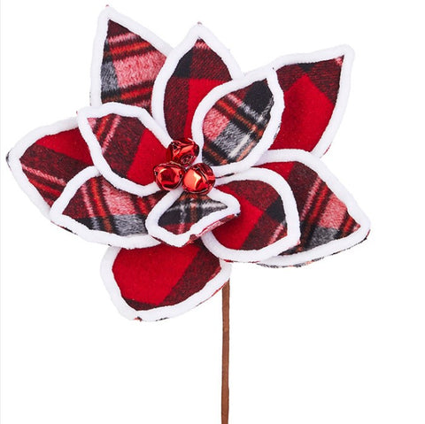 Plaid Poinsettia Pick - Courtyard Style