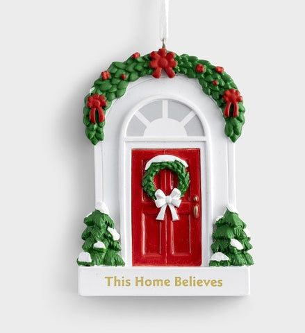 Red Door Resin Ornament - Courtyard Style