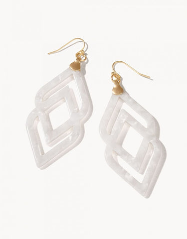 Deco Drama Earrings White Shimmer - Courtyard Style
