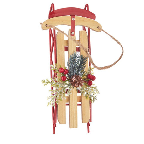 "Sled Ornament 7.25"" - Courtyard Style"
