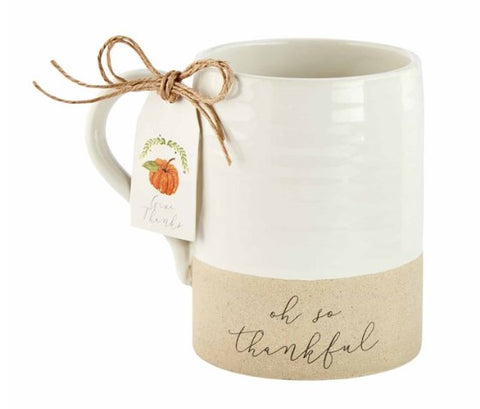 Thankful Stoneware Mugs - Courtyard Style