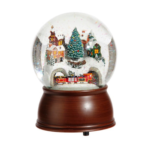 House and Train Musical Water Globe