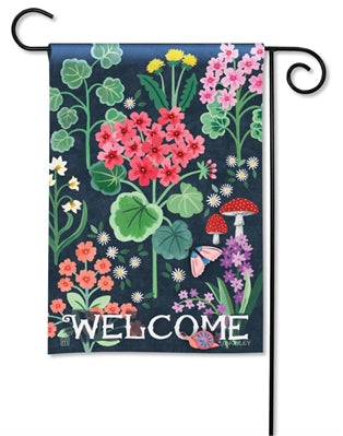 Geranium Welcome Garden Flag - Courtyard Style