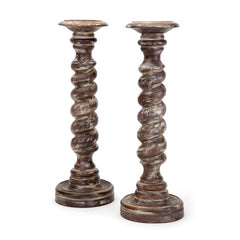 Pair of Wooden Twisted Candlesticks