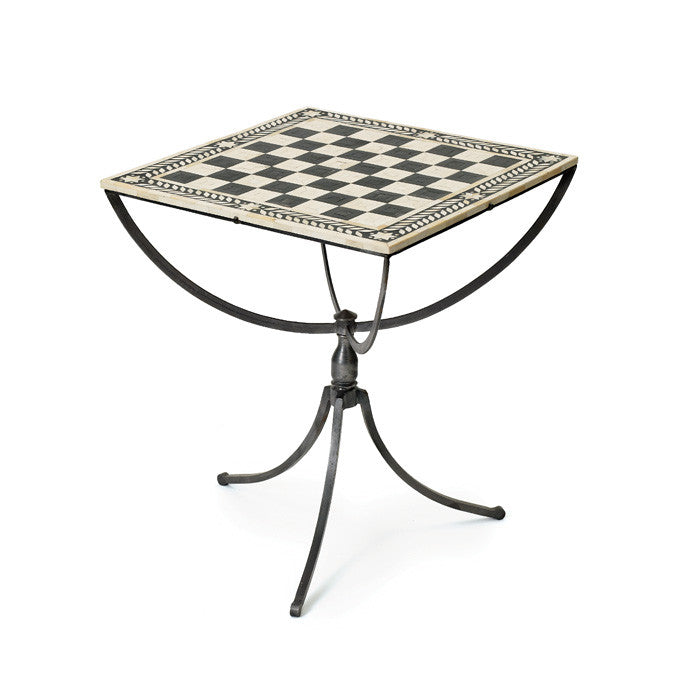 Chess Table with Polished Nickel