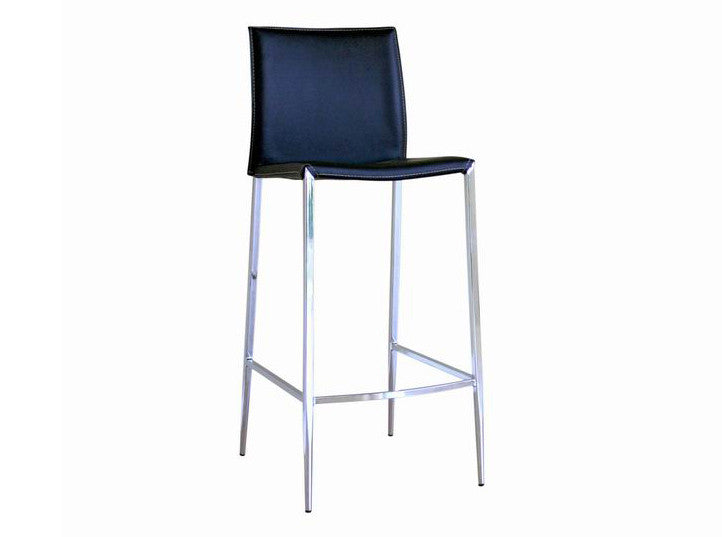 Baxton Studio Jenson Black Leather Bar Stool