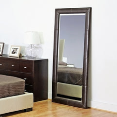 Baxton Studio Floor Mirror with Dark Brown Leather Frame