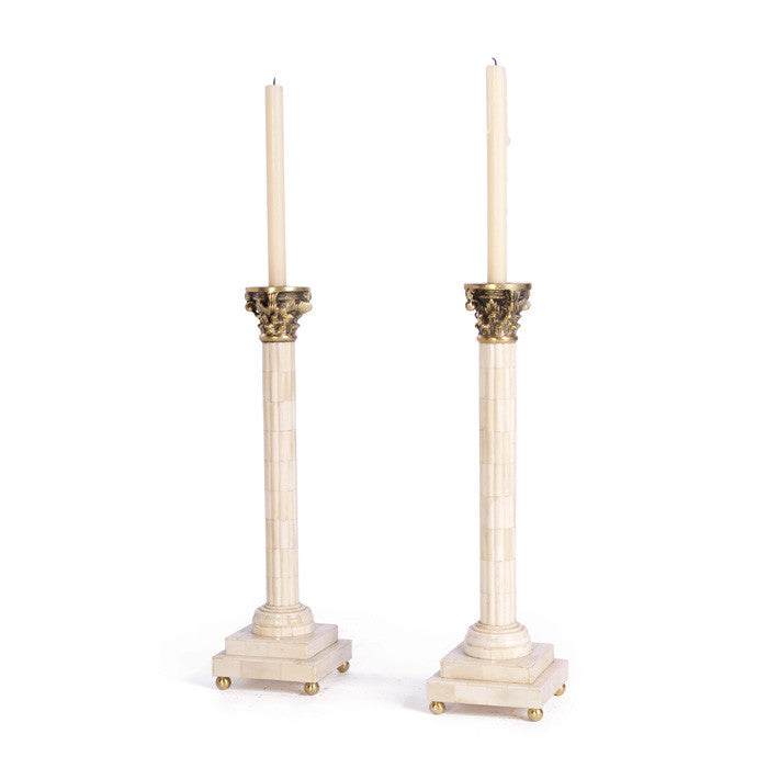 Pair Of Bone Aristocrat Candlesticks