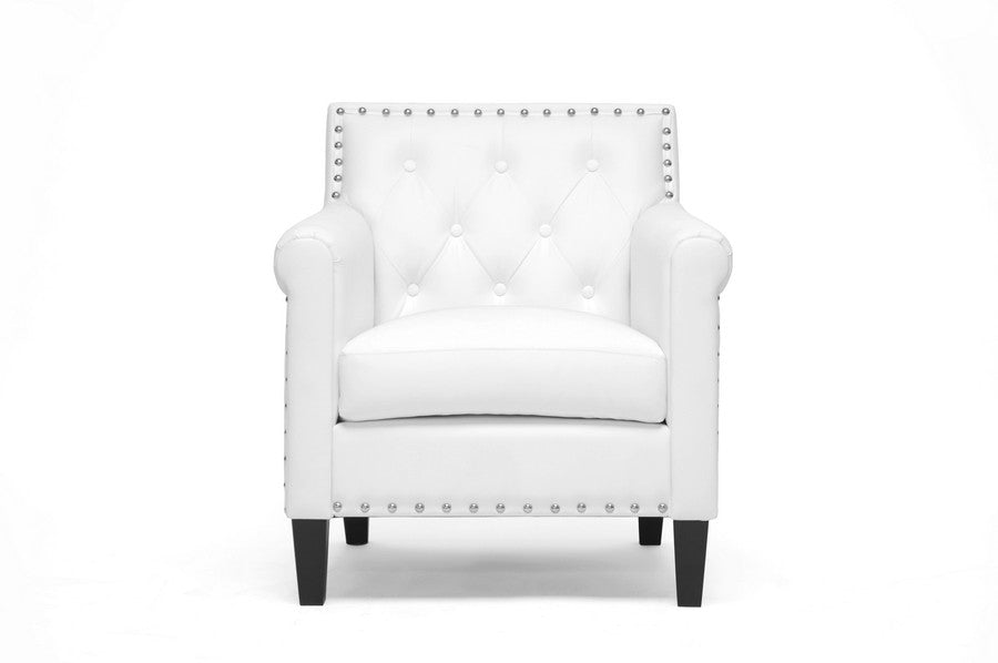 Baxton Studio Thalassa White Modern Arm Chair