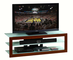 "Techini Mobili Frosted Glass & Mahogany 65"" TV Stand"