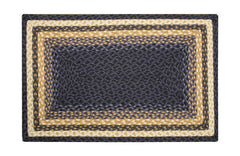 Light & Dark Blue/Mustard Braided Rug In Different Shapes And Sizes