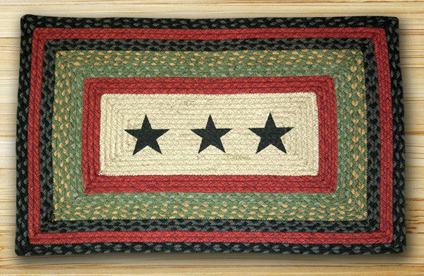 Black Stars Print Patch Rug