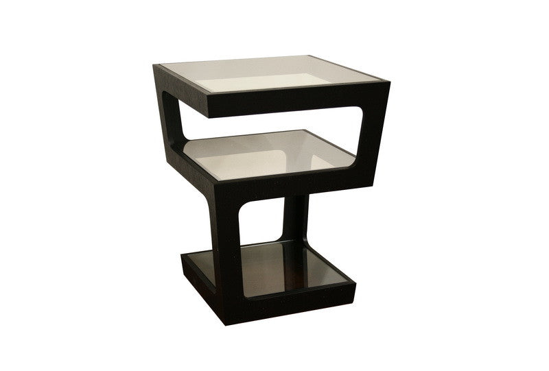 Baxton Studio Clara Black Tall 3-Tiered End Table