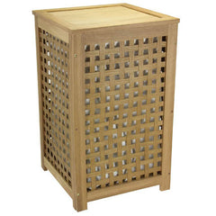 Oak Lattice Hamper Barnwood finish
