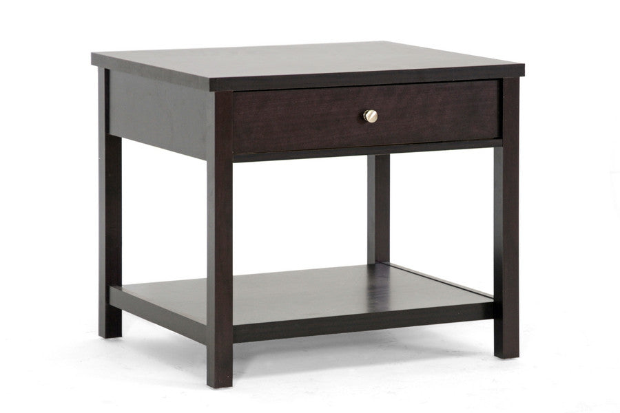 Baxton Studio Nashua Brown Accent Table and Nightstand