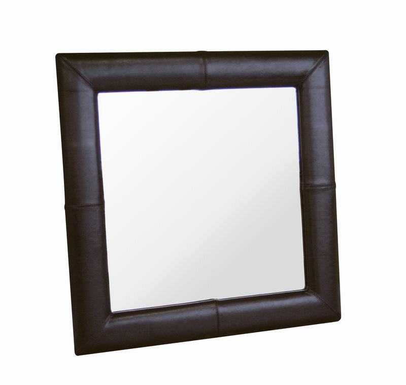 Baxton Studio Square Espresso Leather Mirror