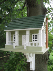 Arts & Crafts Birdhouse - Grey with Green Roof