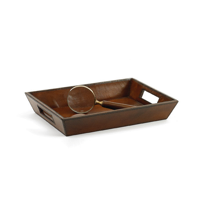 Leather Bankers Tray with Hand Craft Finish