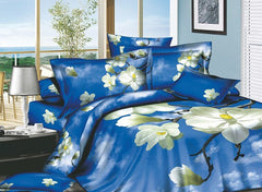 3D White Magnolia and Blue Sky Printed Cotton Luxury 4-Piece Bedding Sets/Duvet Covers
