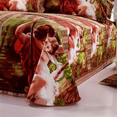 100% Cotton Green Famous Painting Print Duvet Cover Sets